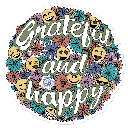 Grateful and Happy Bubble-free stickers