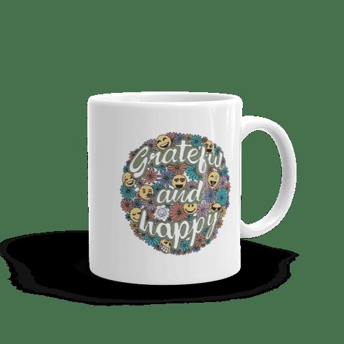 Grateful and Happy White glossy mug