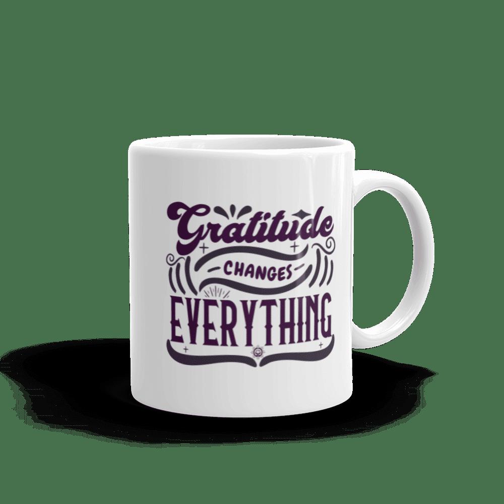 Gratitude Changes Everything White glossy mug