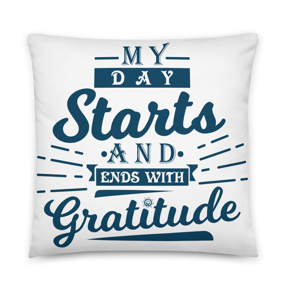 Two Gratitude Sayings on One Pillow