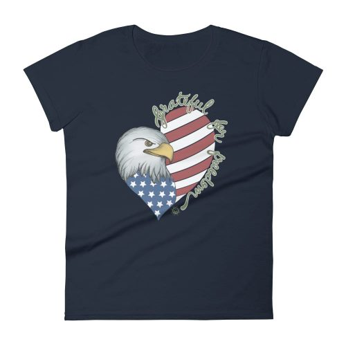 Stunning Grateful for Freedom Fitted Color T-Shirt