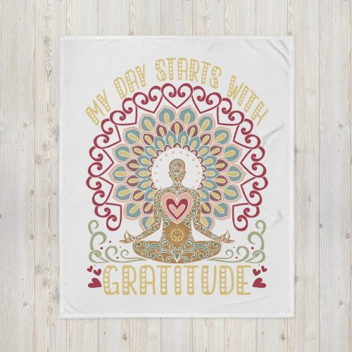 Boho Doodle Day Starts With Gratitude Throw Blanket
