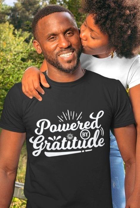 Men's powered by gratitude shirt