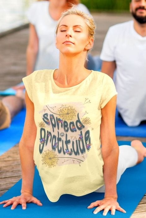 ladies yoga gratitude shirt